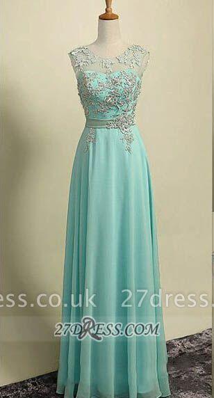 Sexy Illusion Sleeveless Chiffon Evening Dress UK Appliques Zipper Floor-length Prom Gown