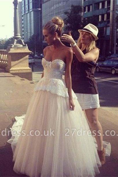 Gorgeous Tulle Sweetheart Wedding Dress Sleeveless Sweep Train