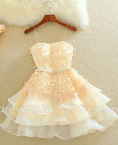 Lovely Sweetheart Mini Homecoming Dress UK Lace Appliques Layered
