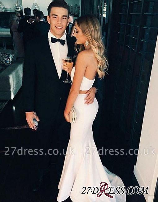 Two-Piece Sleeveless White Sweep-Train Mermaid Modern Prom Dress UK BA4871