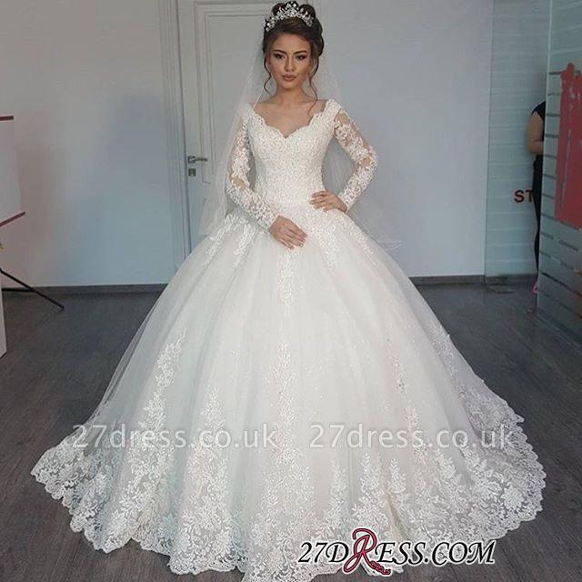 Tulle V-Neck Ball Elegant Lace Long-Sleeves Wedding Dress