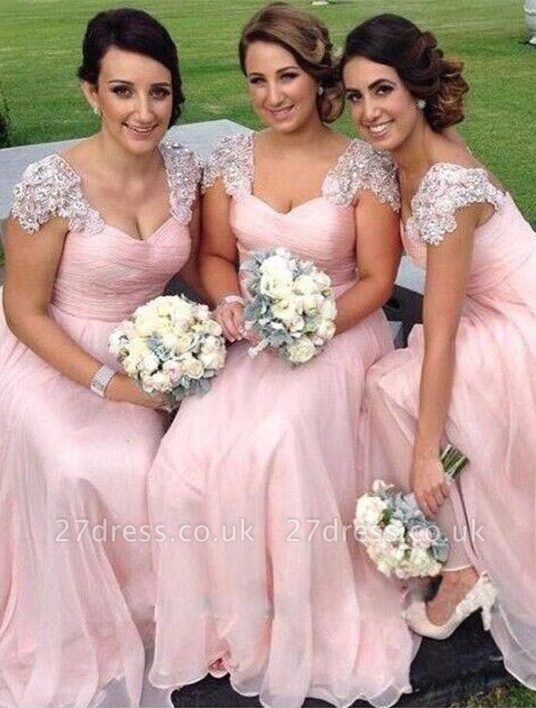 Gorgeous Cap Sleeve A-Line Bridesmaid Dress UK Long Chiffon With Beadings BA2639