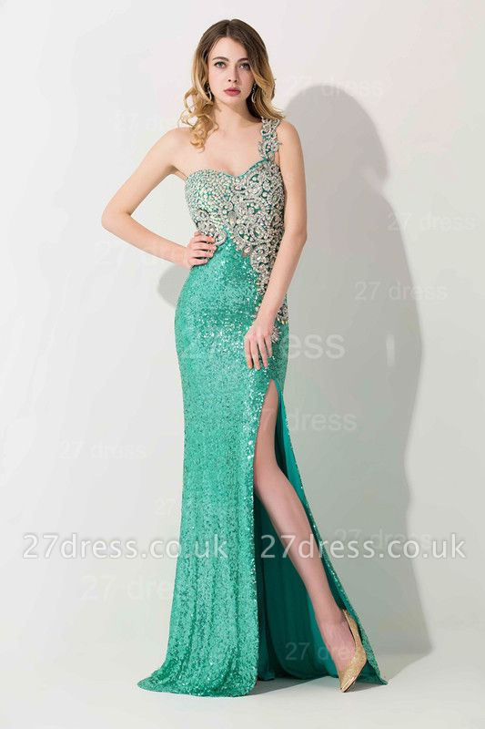 Luxury One Shoulder Sequins Prom Dress UK With Beadings