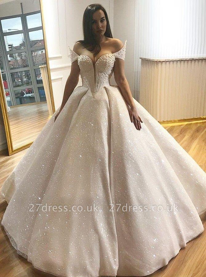 Elegant Cap-Sleeve Wedding Dress   Ball Gown Sequins Bridal Gowns