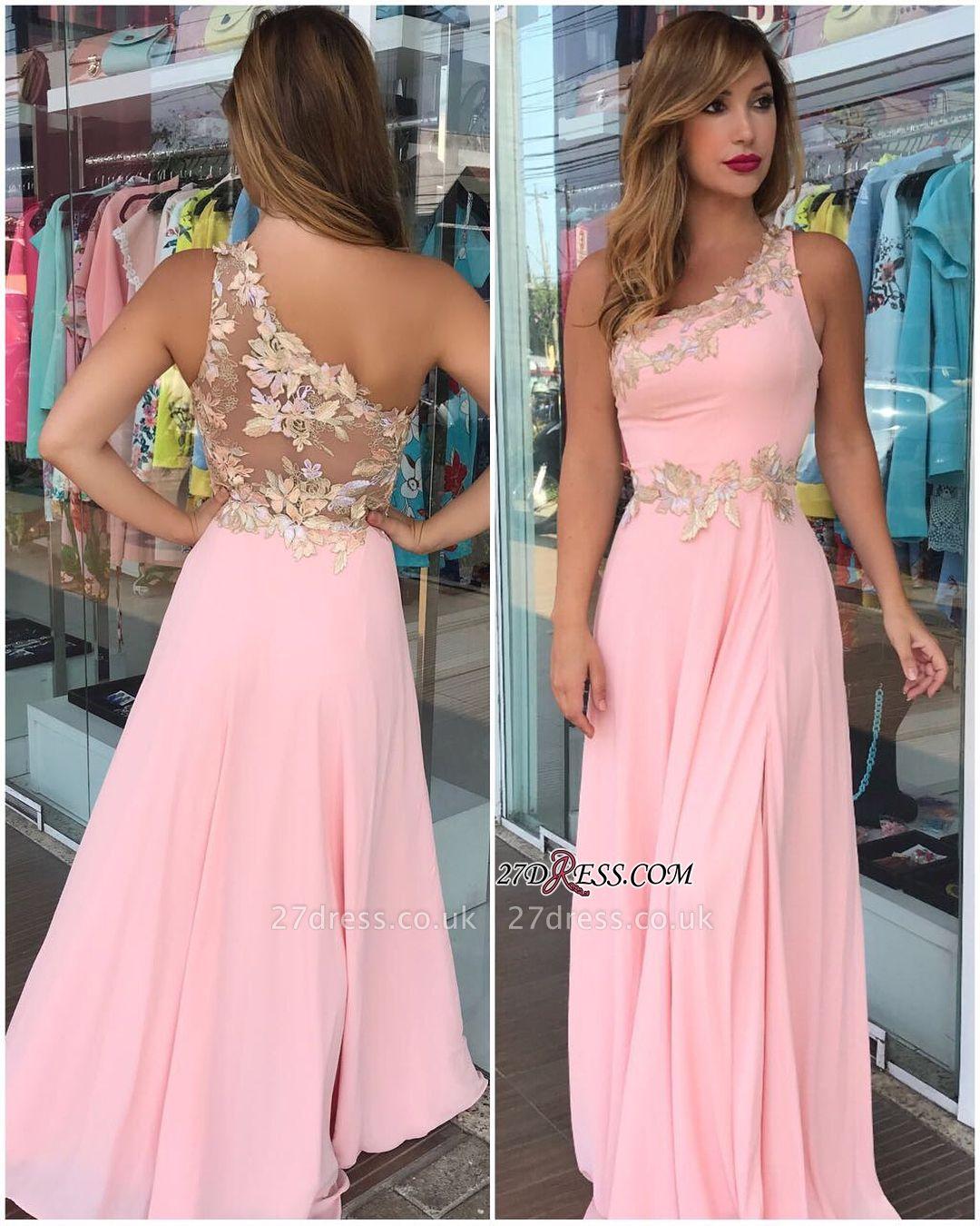Floor-Long Pink Flowers Sleeveless One-Shoulder Prom Dress UK