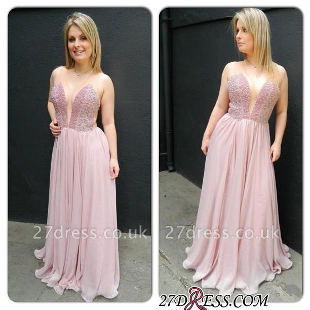 Newest Sleveless Charming V-neck Chiffon Floor-length Prom Dress UK