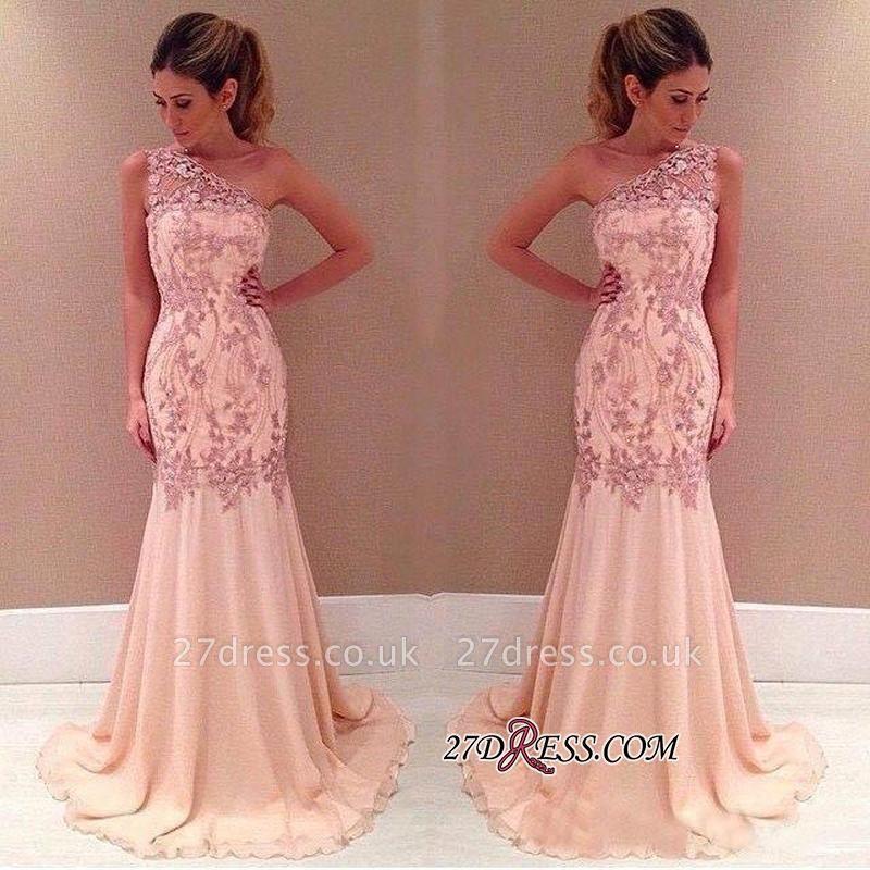 Pink Long Chiffon One-Shoulder Elegant Mermaid Applique Evening Dress UKes UK