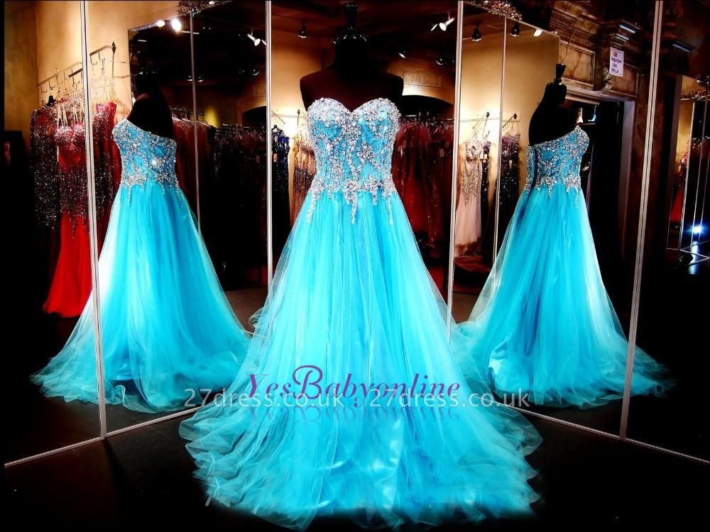 Sweetheart Blue Crystals Tulle Long Luxurious Beaded A-line Evening Dress UKes UK