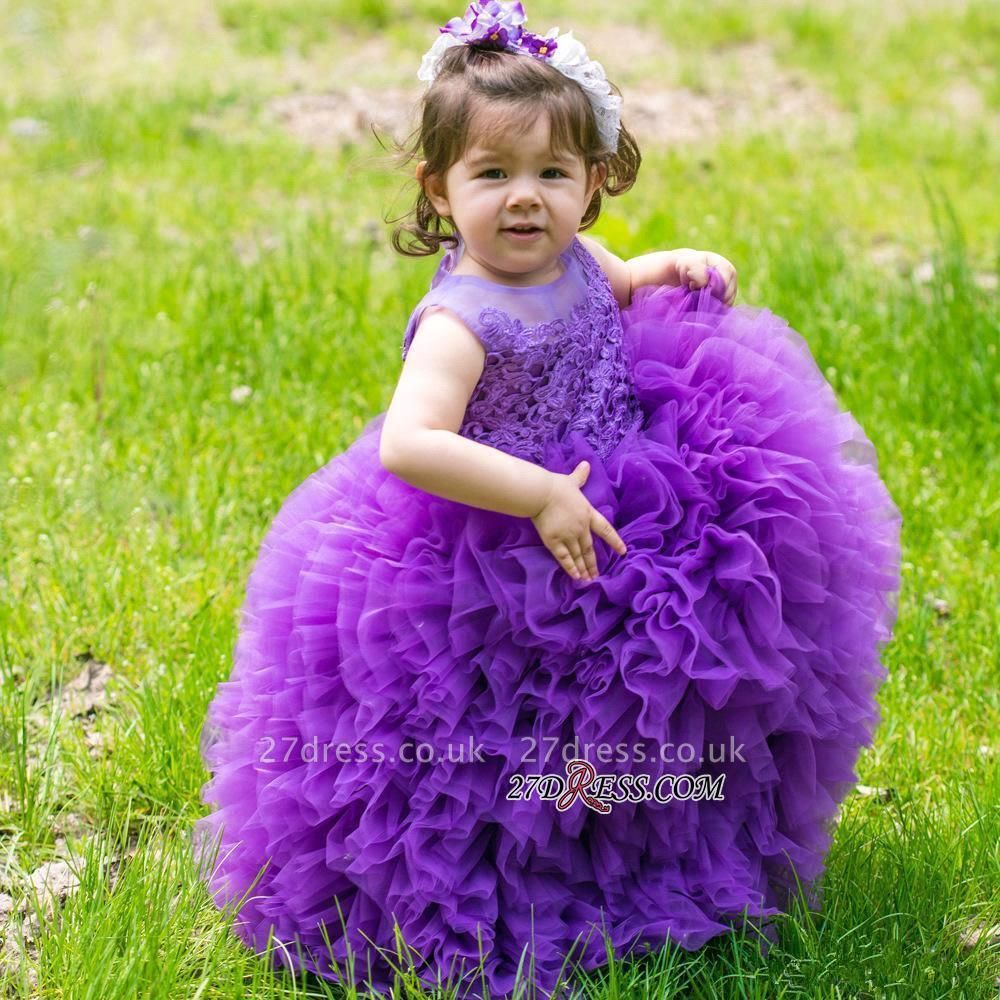 Floor-Length Lovely Lace Purple Ball-Gown Sleeveless Flower-Girl Dress