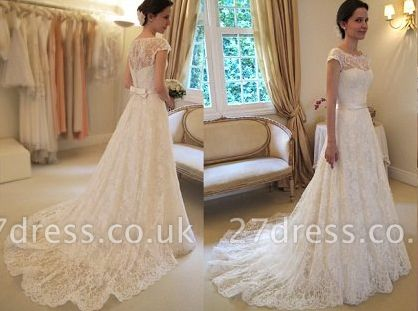 New Arrival Lace A-line Princess Wedding Dresses UK with Cap Sleeves
