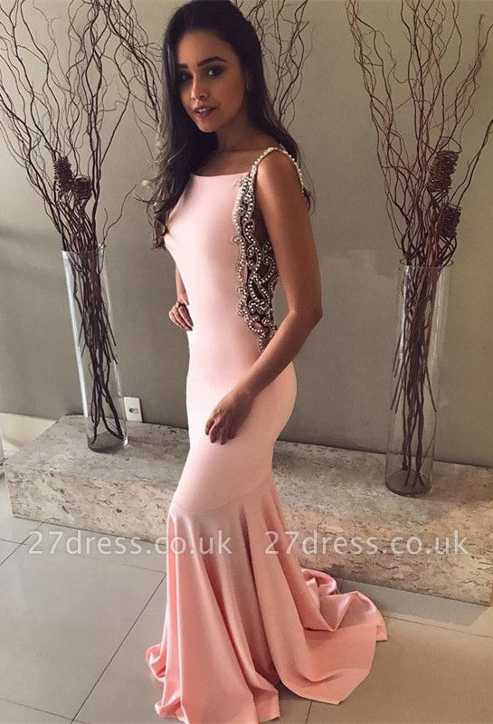 Pink Mermaid Prom Dress UK | Evening Gowns With Beadings BA8929