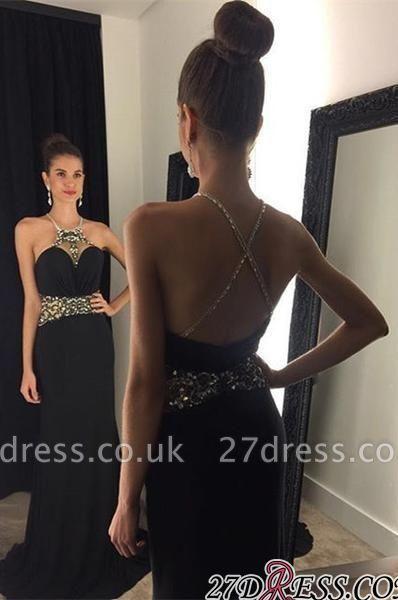 Crystal Sleeveless Jewel Black Newest Prom Dress UK