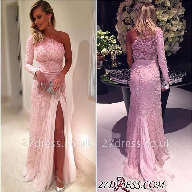 Sexy Pink Lace Long-Sleeve Split Evening Dress UKes UK