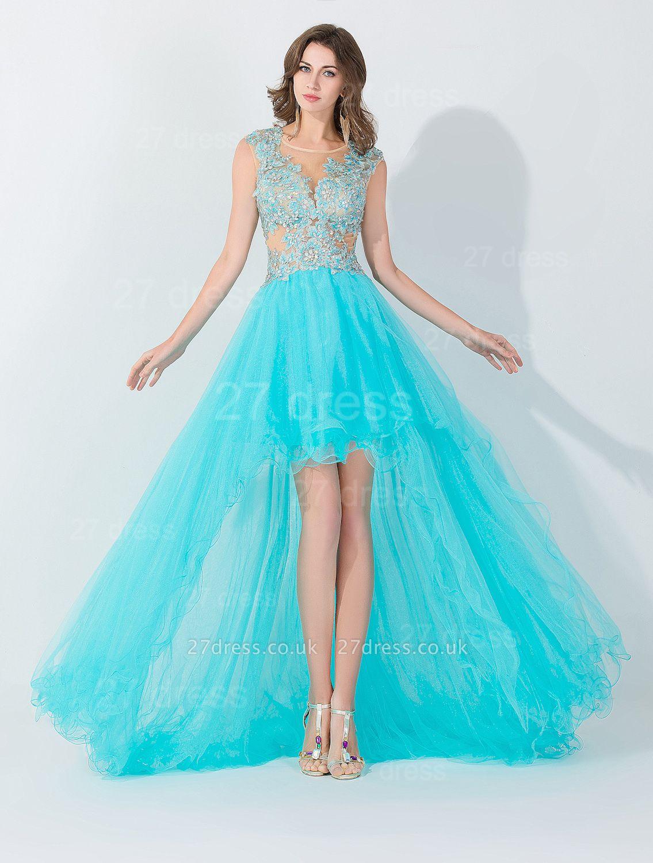 Newest Lace Appliques Hi-Lo Evening Dress UK Sweep Train