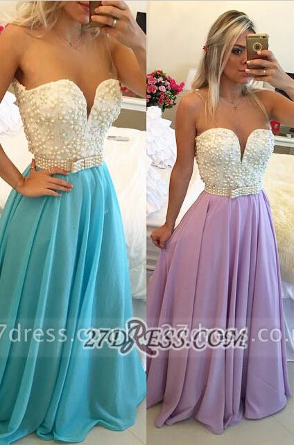 Gorgeous Sweetheart Pearls Beadings Prom Dress UK A-Line Chiffon Long Evening Party Gowns BT0