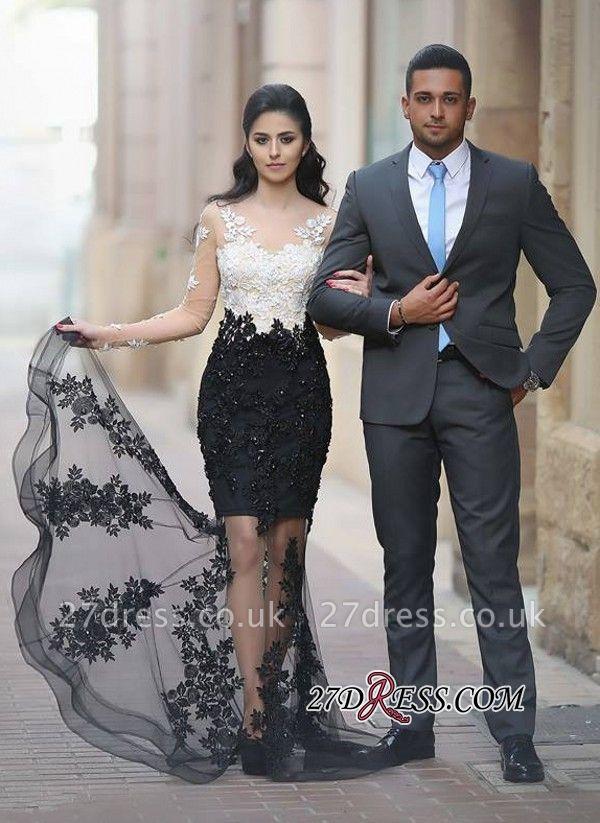 Mermaid White-Black Lace-Appliques Sheer Long-Sleeves Beading Prom Dress UKes UK