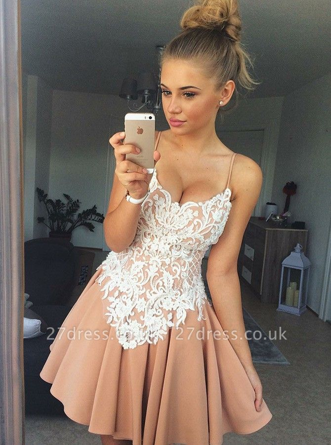 Sexy Spaghetti-Strap Homecoming Dress UKes UK | A-Line Appliques Cocktail Dress UKes UK