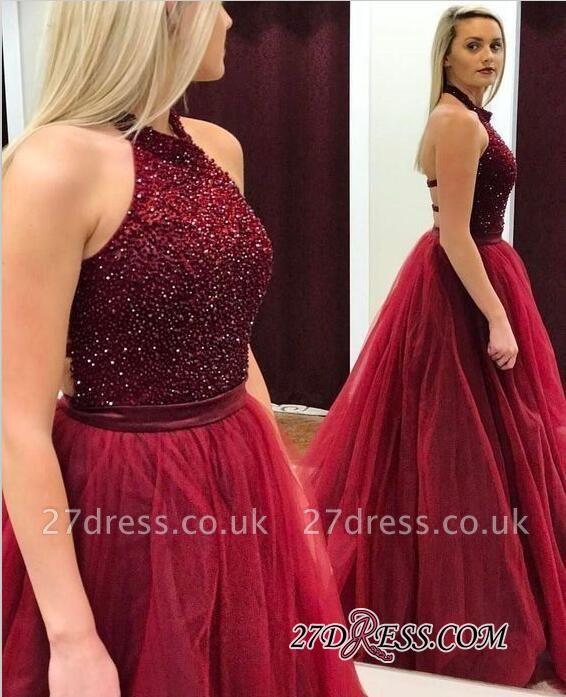 Modest A-line Tulle Halter Sleeveless Beads Prom Dress UK BA7661