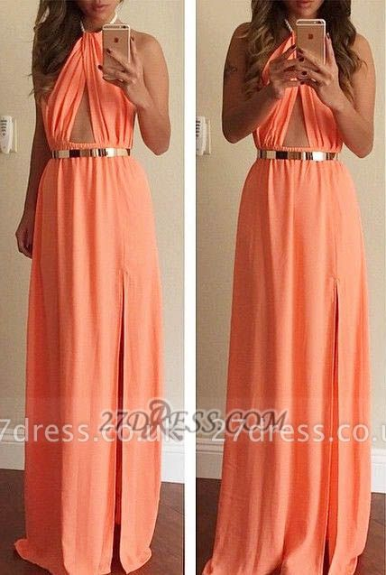 Classic High Neck Sleeveless Long Prom Dress UK With Front Split And Golden Sash