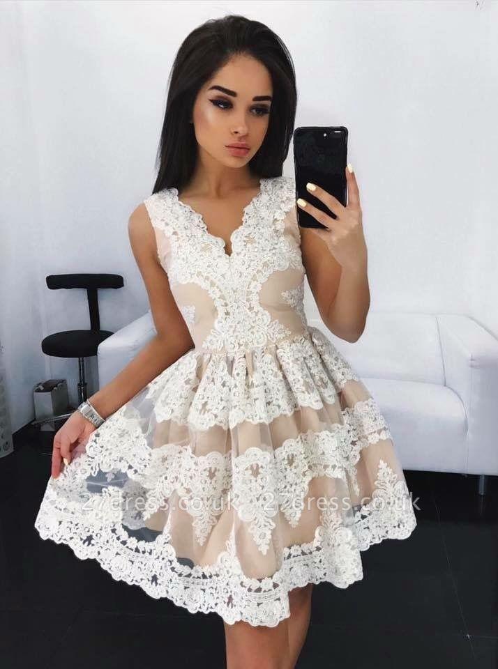 Lovely Lace Homecoming Dress UK Short Sleeveless Party Dress UK On Sale