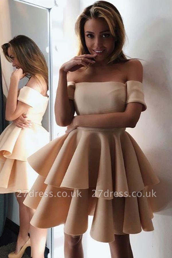 Luxury Short-Sleeve 2019 Homecoming Dress UK | Layers Mini Party Dress UK On Sale
