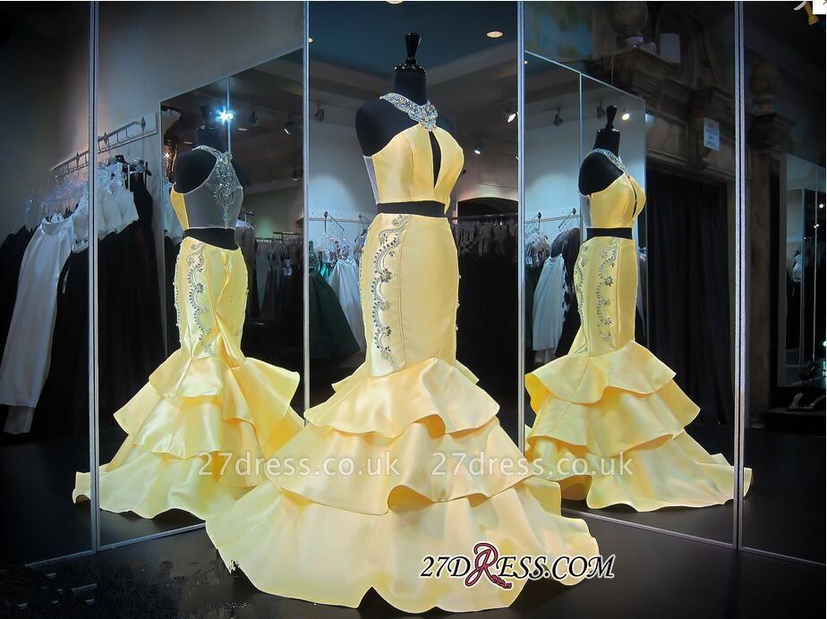 Ruffles Mermaid Zipper Luxury Crystals Sleeveless Halter Yellow Evening Gown