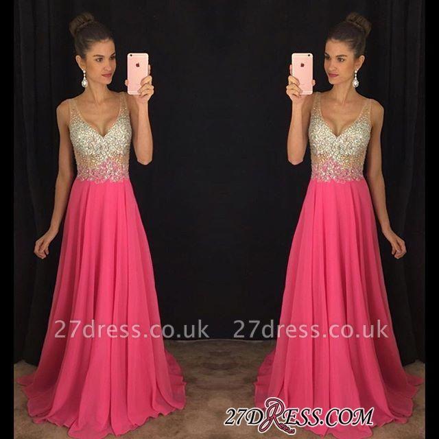 V-Neck Gorgeous A-Line Crystal Sleeveless Elegant Chiffon Prom Dress UK