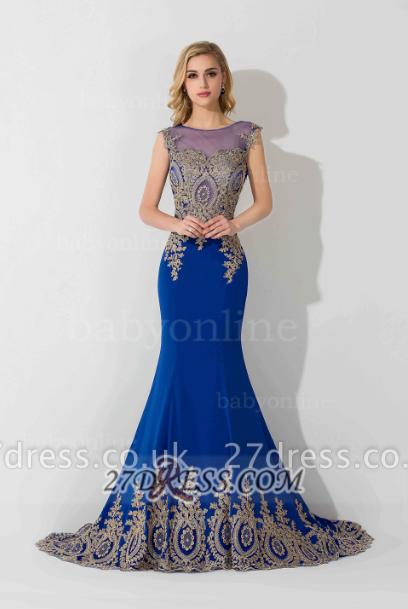 Elegant Illusion Cap Sleeve Mermaid Prom Dress UK Royal Blue Floor-length Appliques Evening Gown