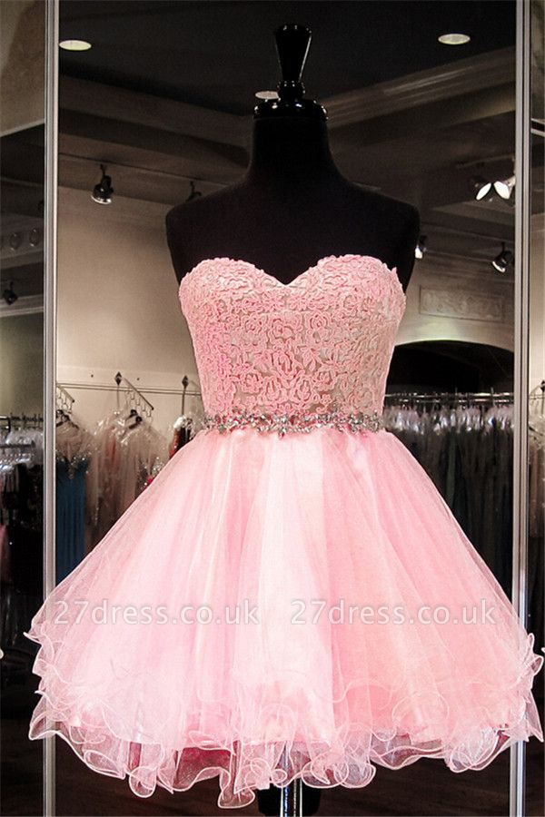 Modest Pink Flowers Crystals Homecoming Dress UK Mini Sweetheart Zipper