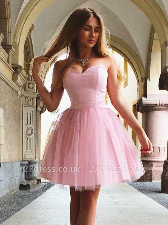 Sweetheart Pink Homecoming Dress UKes UK | A-Line Sleeveless Cocktail Dress UKes UK