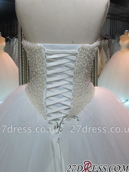 Sweetheart Pearls Princess Ball-Gown Elegant Tulle Wedding Dress