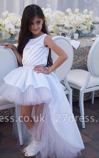 Lovely White Hi-Lo Tulle Flower Girl Dress Sweep Train Jewel