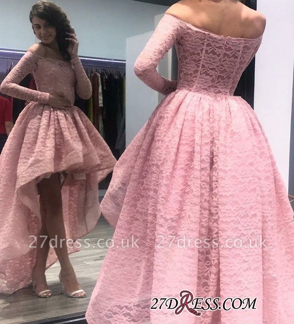 Zipper Bateau Long-Sleeves Hi-Lo Prom Dress UK