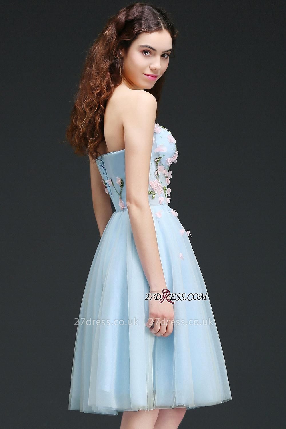 Embroidery Flowers Luxury Sweetheart Lace-Up Tulle Short Homecoming Dress UK