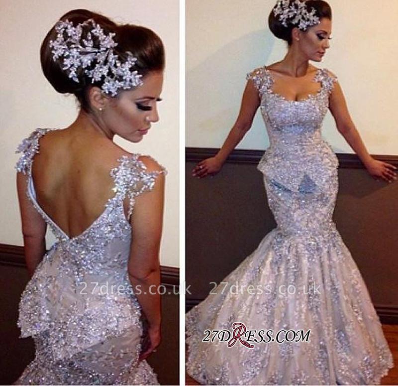Open-Back Sleeveless Amazing Mermaid Sparkly Appliques Sequins Evening Dress UKes UK bo7011
