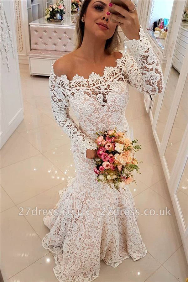 Off The Shoulder Lace Sexy Mermaid Wedding Dresses UK Long Sleeve Cheap Bride Dress