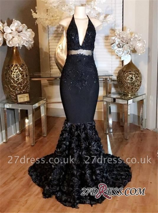 Lace-Appliques Mermaid with Prom Dress UK Halter Deep-V-Neck Rose Flowers BA5137