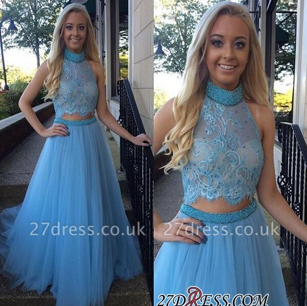 High-Neck Gorgeous Two-Pieces Tulle A-Line Beadings Prom Dress UK