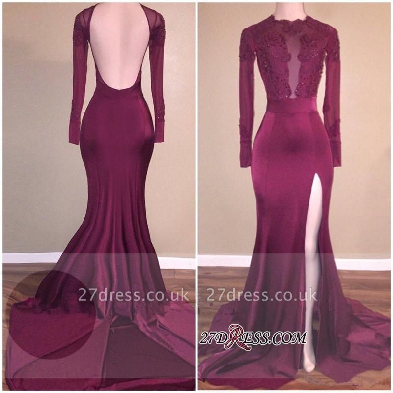 Burgundy Appliques Backless Mermaid Side-Slit Long-Sleeves Prom Dress UK qq0272