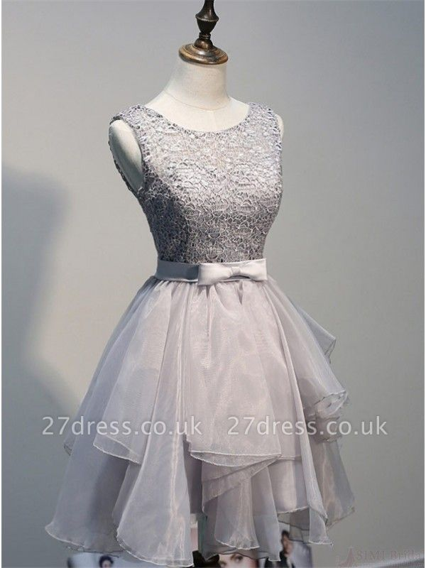 Sexy Lace Mini Bow Homecoming Dress UK Sleeveless Lace-up