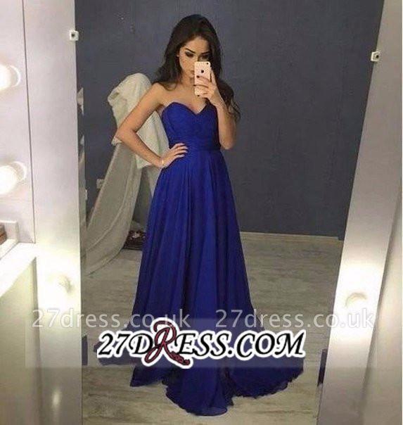 Chiffon Blue Sweetheart Long A-Line Prom Dress UKes UK