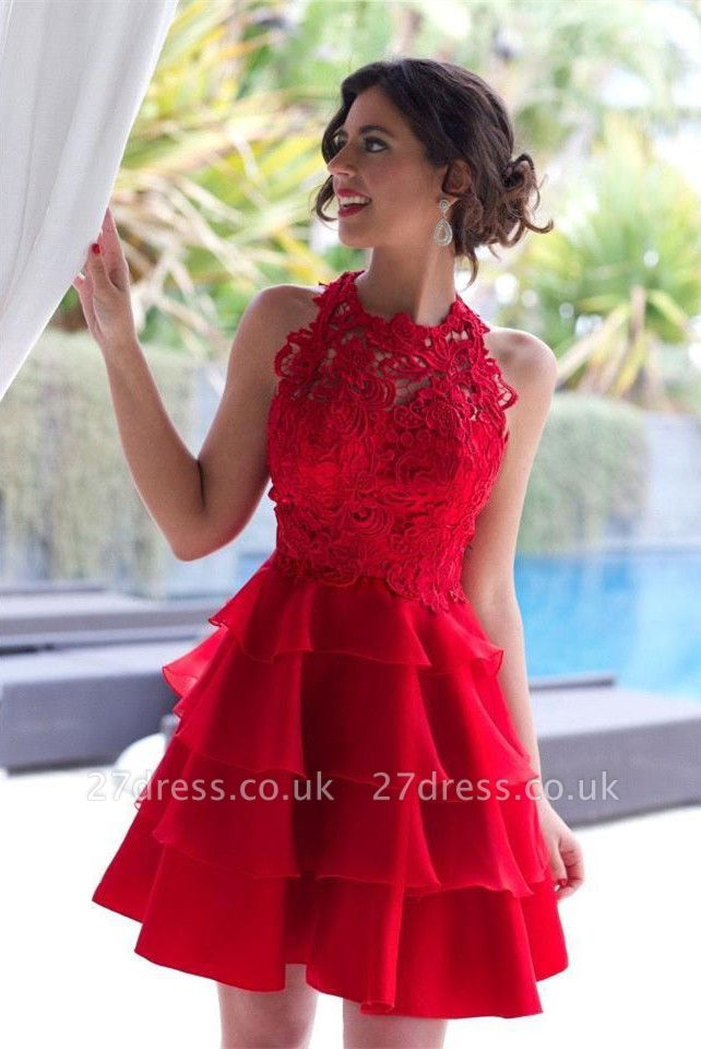 Elegant Red Lace Sleeveless Homecoming Dress UK Short Layers Cocktail Gowns
