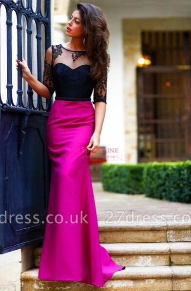 Sheath Long Black Lace Prom Dress UK with Elegant Half Sleeves