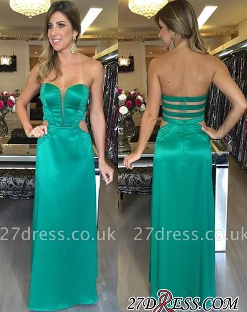 Long Sleeveless Green Sexy Zipper Sweetheart Natural Prom Dress UKes UK