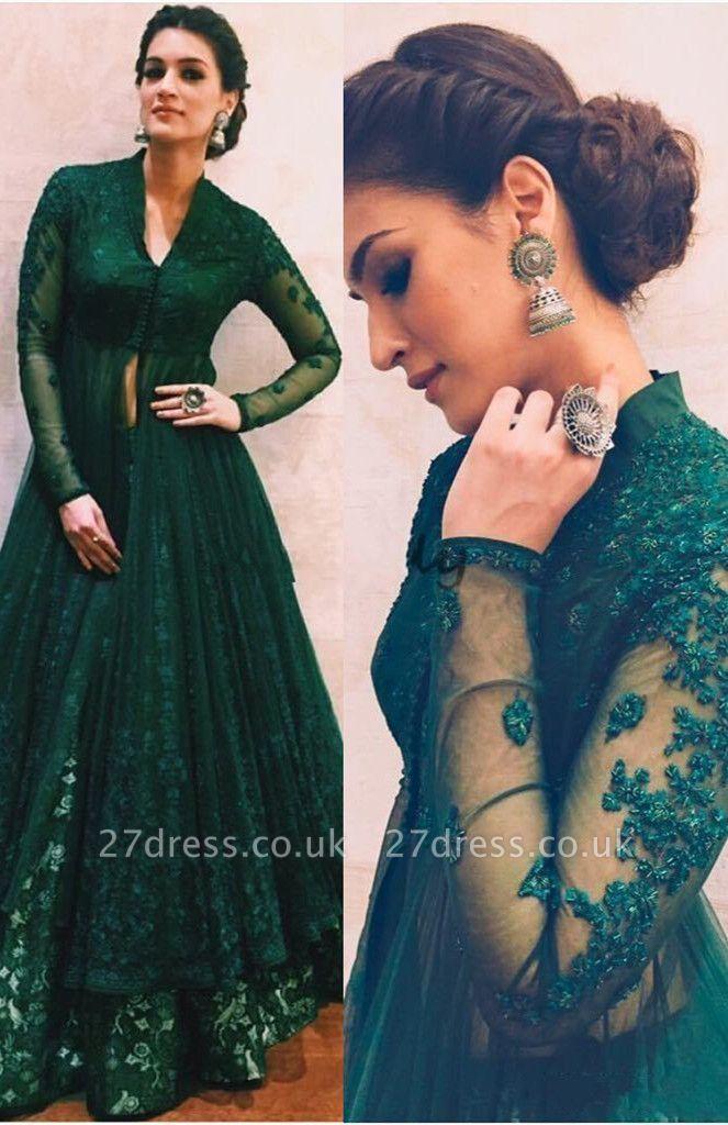 Long-Sleeve Green Evening Dress UK   Lace Prom Dress UK On Sale