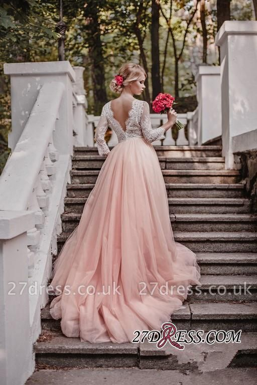 Lace Tulle V-Neck Pink Pretty Long-Sleeve Zipper Wedding Dress