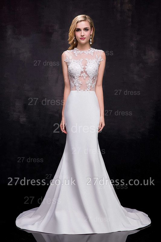 Lace Appliques Sexy Mermaid Wedding Dress Sweep Train