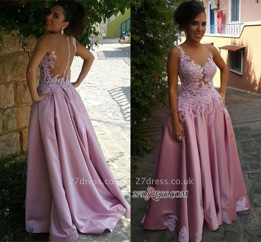 Pink Delicate Buttons Sleeveless A-Line Appliques Prom Dress UK