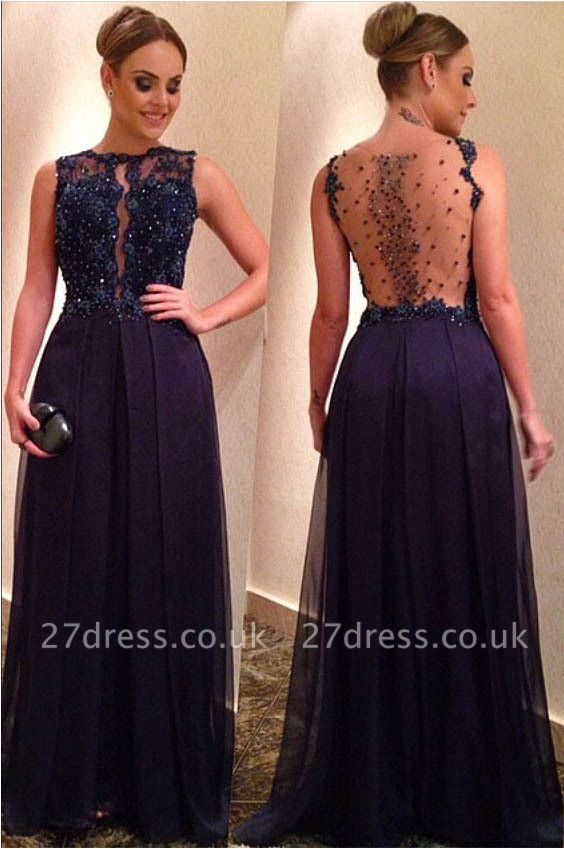 Sexy Beadings Lace Appliques Evening Dress UK A-line Floor-length