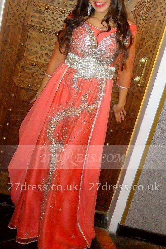 Elegant Prom Dress UK with Sleeves Half Luxury Evening Gown A-line Sequins Beaded and Sash